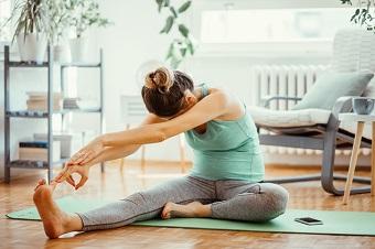 Bra träningsmatta för yoga, stretching och hemmaträning.