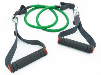 Ett träningsband i gummi med handtag.
