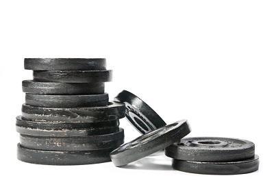 Viktskivor i olika kg för hantlar och skivstång med fria vikter.